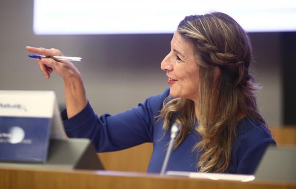 La ministra de Trabajo, Yolanda Díaz, en un acto público.
