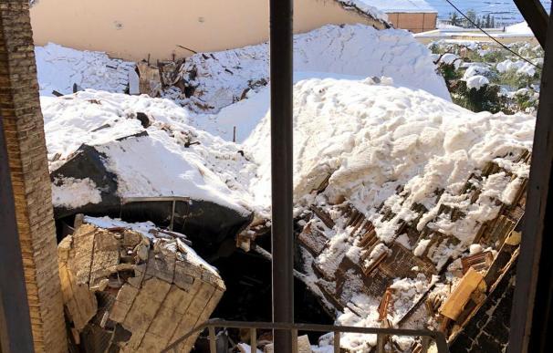 Así ha quedado el almacén de la bodega del Celler Vall Llach en Porrera (Tarragona) tras el paso de Filomena
