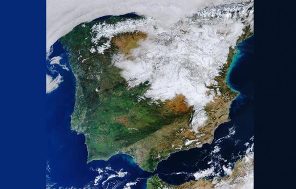 Imagen de satélite, Copernicus Sentinel-3, ESA, de la Península Ibérica tras el paso de 'Filomena'