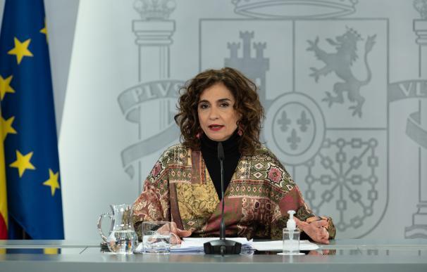 La ministra de Hacienda, María Jesús Montero, en la rueda de prensa posterior al Consejo de Ministros del 19 de enero