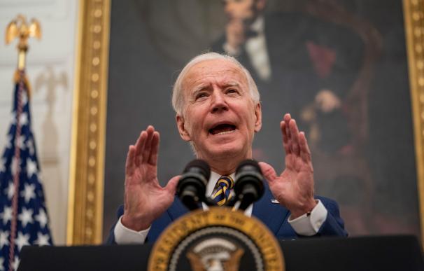 El presidente de Estados Unidos, Joe Biden, durante su intervención ante los medios de este viernes.