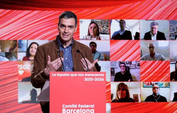 El presidente del Gobierno, Pedro Sánchez, durante el Comité Federal del PSOE.