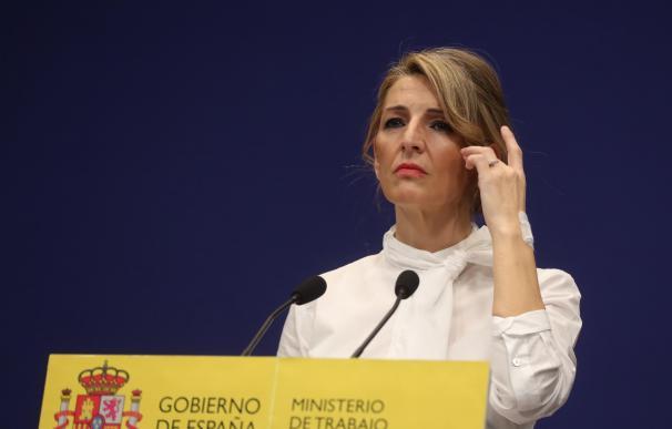 La ministra de Trabajo, Yolanda Díaz, en una rueda de prensa en su Ministerio.