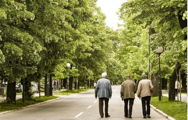 Tres jubilados o pensionistas caminan por un parque.