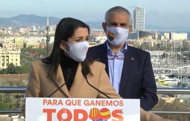 La presidenta de Ciudadanos, Inés Arrimadas, durante un acto de la campaña catalana