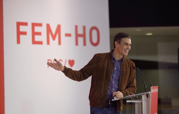 El presidente del Gobierno, Pedro Sánchez, en jun acto electoral en Cataluña.