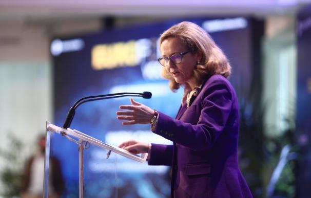 La vicepresidenta económica, Nadia Calviño, en una intervención pública.
