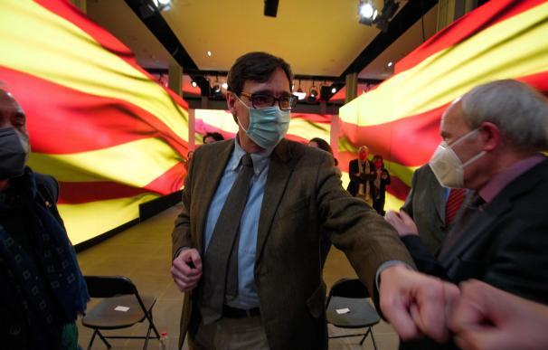 El candidato del PSC a la Generalitat, Salvador Illa, en el cierre de la última campaña.