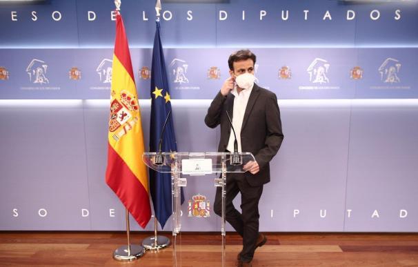 El presidente de Unidas Podemos en el Congreso, Jaume Asens, en rueda de prensa EUROPA PRESS - E. PARRA - POOL 16/2/2021