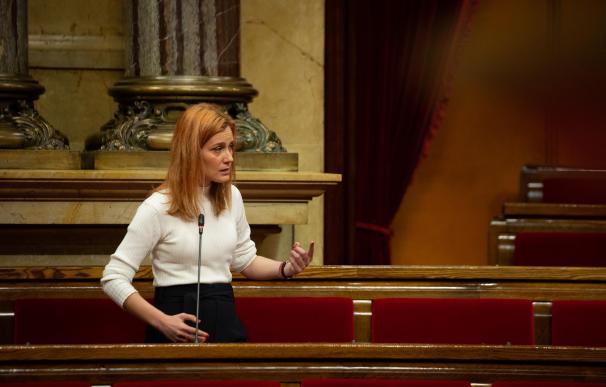 La líder de los comuns en el Parlament, Jéssica Albiach, interviene durante la Diputación Permanente del Parlament