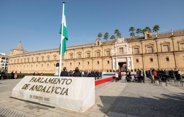 Fachada principal Parlamento andaluz, donde esta mañana se ha celebrado el acto institucional con motivo del Día de Andalucía