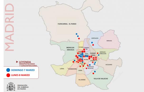 Mapa convocatorias 8 M