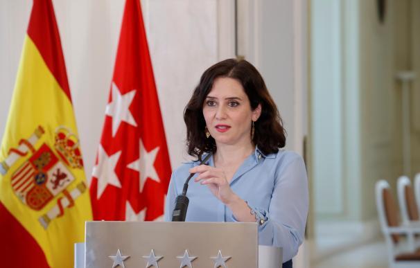 La presidenta de la Comunidad de Madrid, Isabel Díaz Ayuso, anunciando la convocatoria electoral