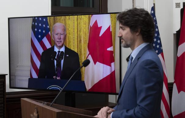 El presidente de Canadá, Justin Trudeau, y el presidente de Estados Unidos, Joe Biden.