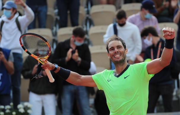 Rafa Nadal celebra su victoria contra Cameron Norrie en el Roland Garros.