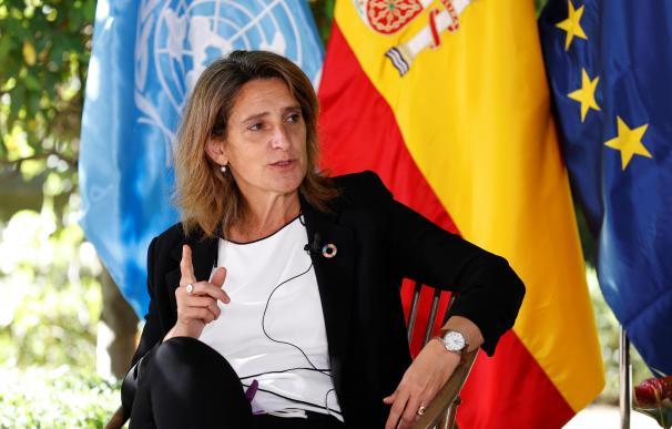 La ministra de Transición Ecológica, Teresa Ribera participa en el panel de alto nivel 'Acción climática para una recuperación verde' celebrado en Madrid.