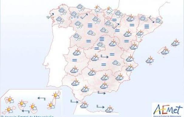Temperaturas máximas en descenso y lluvias débiles en gran parte de península