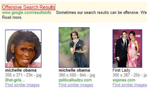 Imagen de Michelle Obama con cara de simio y la nota de Google arriba - Google