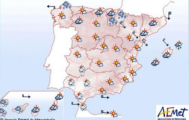 Viento y chubascos en Baleares y nieve en cotas bajas en Teruel y Alto Ebro