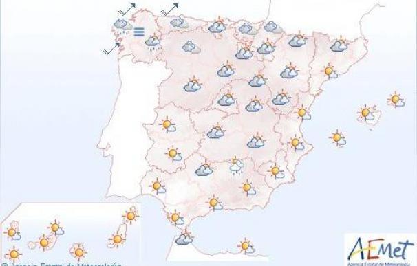 Mañana lloverá débilmente en el noroeste peninsular, en el resto cielo nuboso
