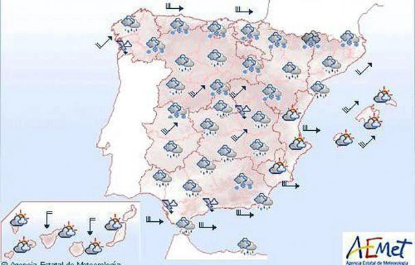 Fuerte viento en la península y Baleares, y descenso de la cota de nieve en el norte