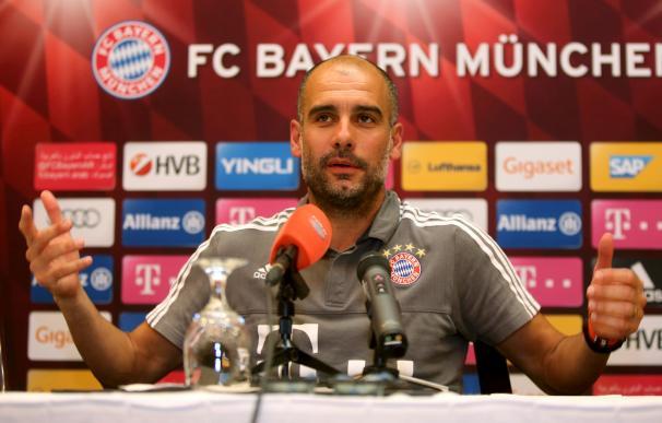 Guardiola durante una rueda de prensa con el Bayern Múnich. / AFP