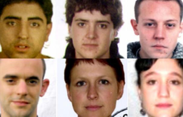 Fotografías de los seis presuntos etarras para cuya localización ha pedido colaboración ciudadana el Ministerio del Interior.