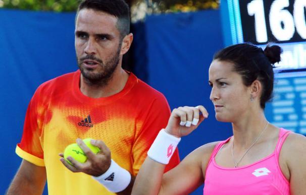 David Marrero y Lara Arruabarrena en su partido del dobles mixto