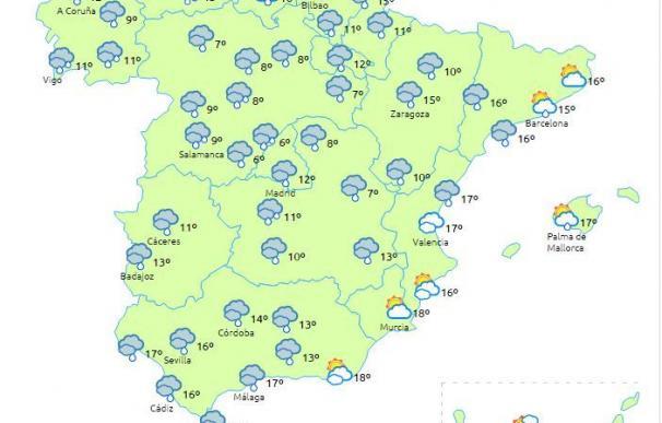 El jueves lloverá en casi toda España