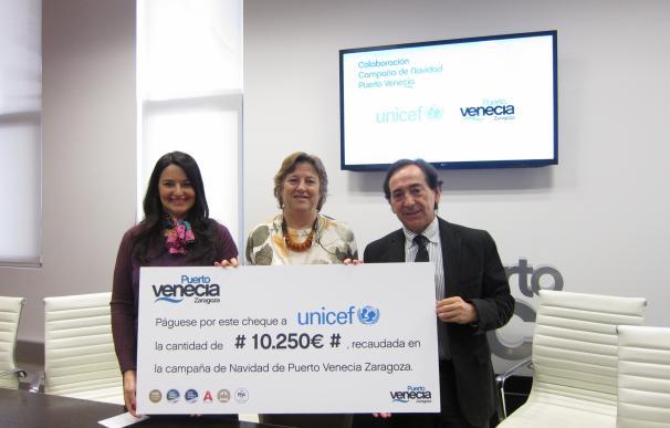 Puerto Venecia dona 10.250 euros a Unicef Aragón para su campaña 'Uno más uno' de atención a emergencias
