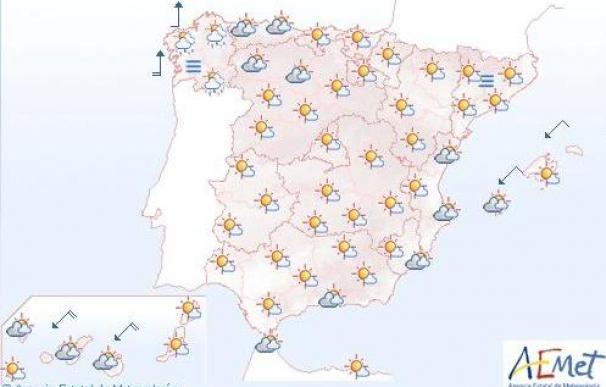 Cielo poco nuboso y algunas precipitaciones débiles en Galicia y las islas