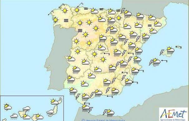 Chubascos fuertes mañana en el sureste del país, Melilla y Baleares