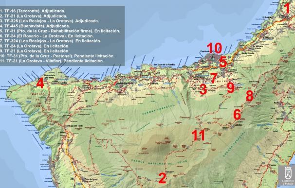 El Cabildo de Tenerife invierte más de 10 millones de euros en las carreteras del norte