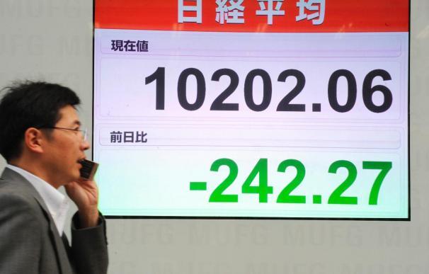El índice Nikkei baja 227,18 puntos el 2,15 por ciento hasta 10.317,04 puntos