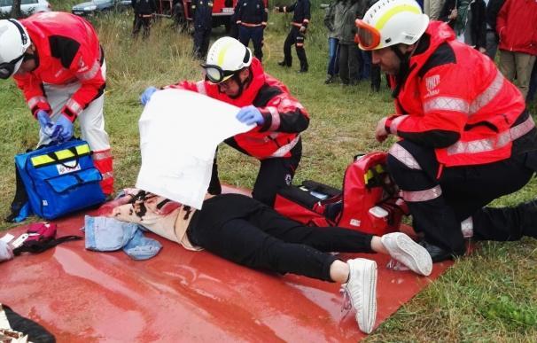 El Ibanat, el 061 y la UME realizan un simulacro de salvamento en situación de incendio forestal en Palma