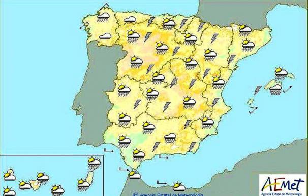 Chubascos muy fuertes en Levante, Cataluña y mitad sur de la Península