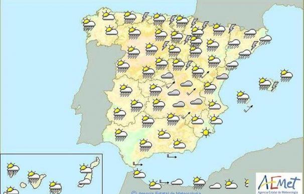 Tormentas fuertes en el País Vasco, Alto Ebro, norte de Aragón y Baleares