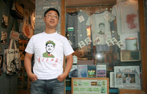 """El vendedor de camisetas chino que puso rostro a """"Obamao"""""""