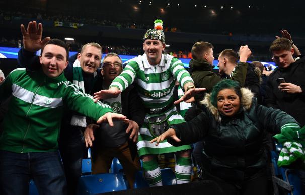 Aficionados del Celtic en el partido ante el Manchester City.