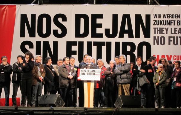Imagen del estrado donde los dirigentes sindicales dieron sus discursos el 14-N.