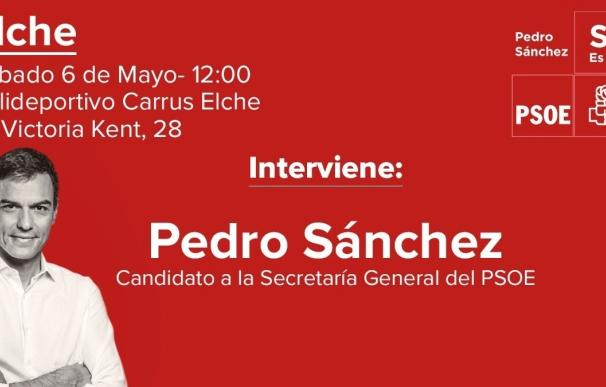 Pedro Sánchez participará el próximo sábado en un acto con militantes en Elche
