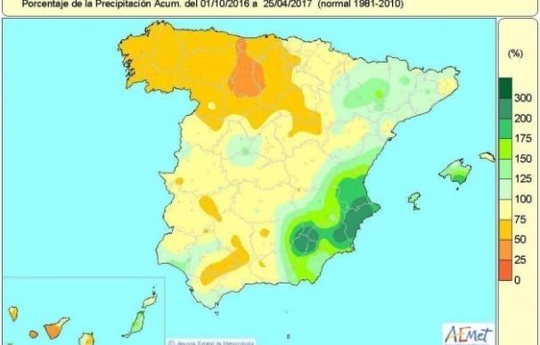 La falta de lluvias acumulada aumenta hasta el 14% por debajo de los niveles normales y llega al 25% en el noroeste