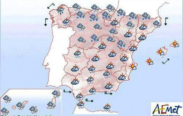 Mañana, nevadas en general débiles en cotas bajas del centro y del norte del país
