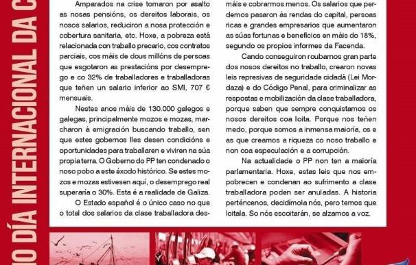 """La CIG llama a movilizarse el Primero de Mayo para """"recuperar"""" derechos laborales y sociales"""