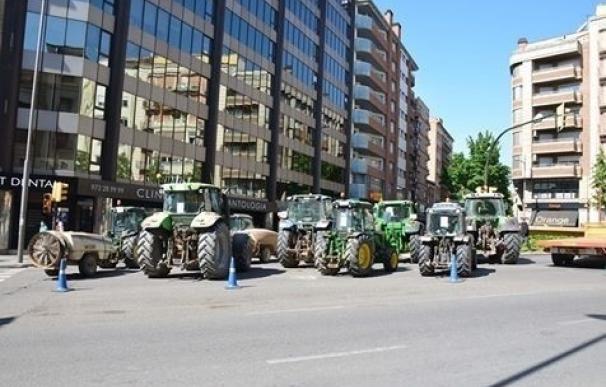 Tractorada de Asaja en Lleida en protesta por la crisis de precios de la fruta