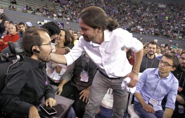 Echenique, Iglesias y Errejón en el Congreso fundacional de Podemos en octubre de 2014