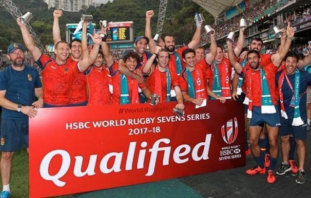 La selección española de rugby seven celebra la clasificación.