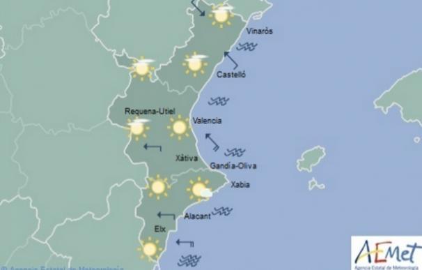 Cielos poco nubosos y aumento de las temperaturas máximas en el interior de la Comunitat Valenciana