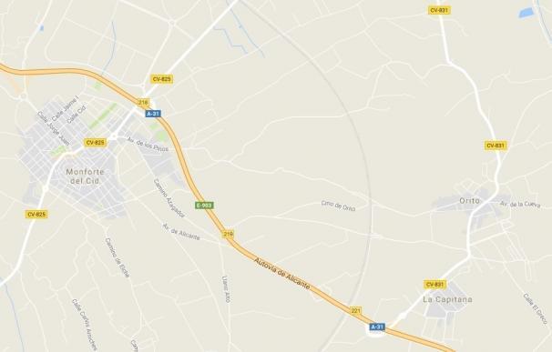 Muere un joven de 19 años al salirse de la carretera en Monforte del Cid