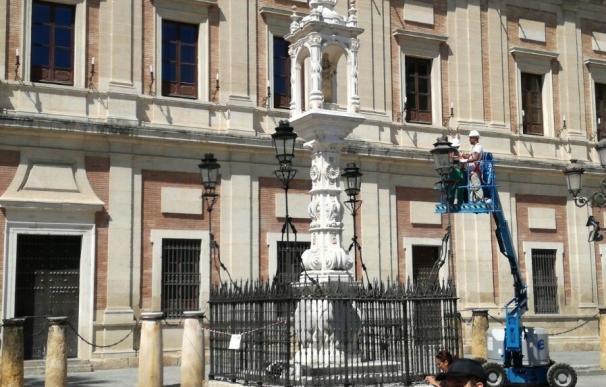 Ayuntamiento ejecuta obras de mantenimiento en el templete de Nuestra Señora del Patrocinio
